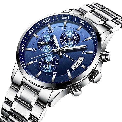 Men's Fashion Casual Quartz Watch Business Watches Men Stainless Steel Chronograph Wristwatch CJ-2214BU by Renwangda