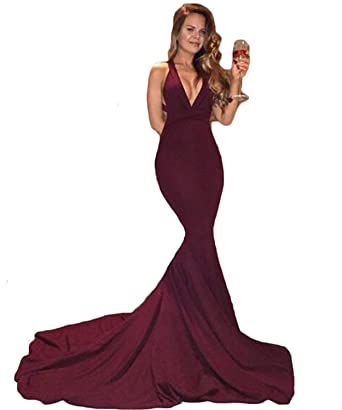 Butalways Womens Long Mermaid Evening Gown Spandex Jersey Prom Dresses Sexy Burgundy 2