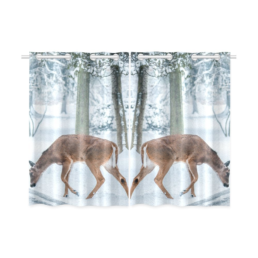your-fantasia Christmas Deer Street Snow Winter Nature Animal Window Curtain Kitchen Curtain Two Pieces 26 x 39 inches