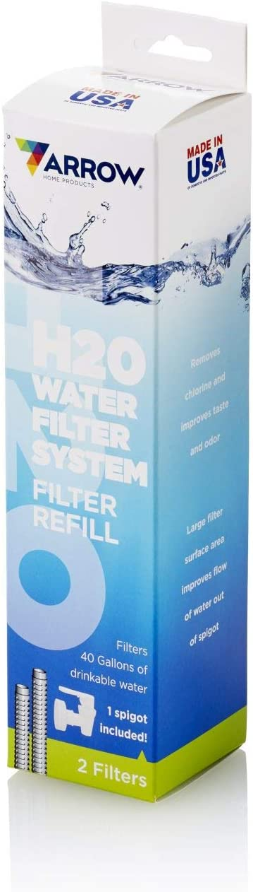 Arrow Home Products Cleara H2O Water Filtration System Replacement, Includes 2-Filters and 1-Spigot, White