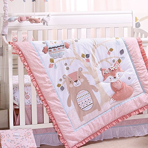 Woodland Friends 4 Piece Forest Animal Theme Baby Crib Bedding Set - Rose Pink (Bear Pink Crib)