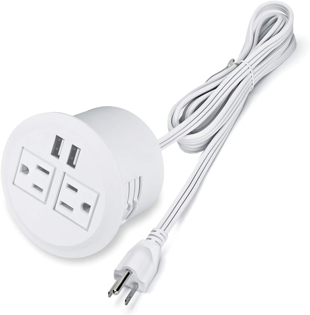 Desktop Power Grommet Power Outlet Socket Desk Outlet Power Strip 2 Outlet with 2 USB Ports with 10 FT Power Cord(White)