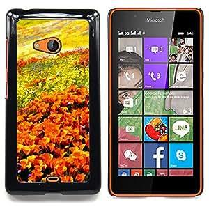 Stuss Case / Funda Carcasa protectora - Campo de flores que pintan arte cielo anaranjado - Nokia Lumia 540
