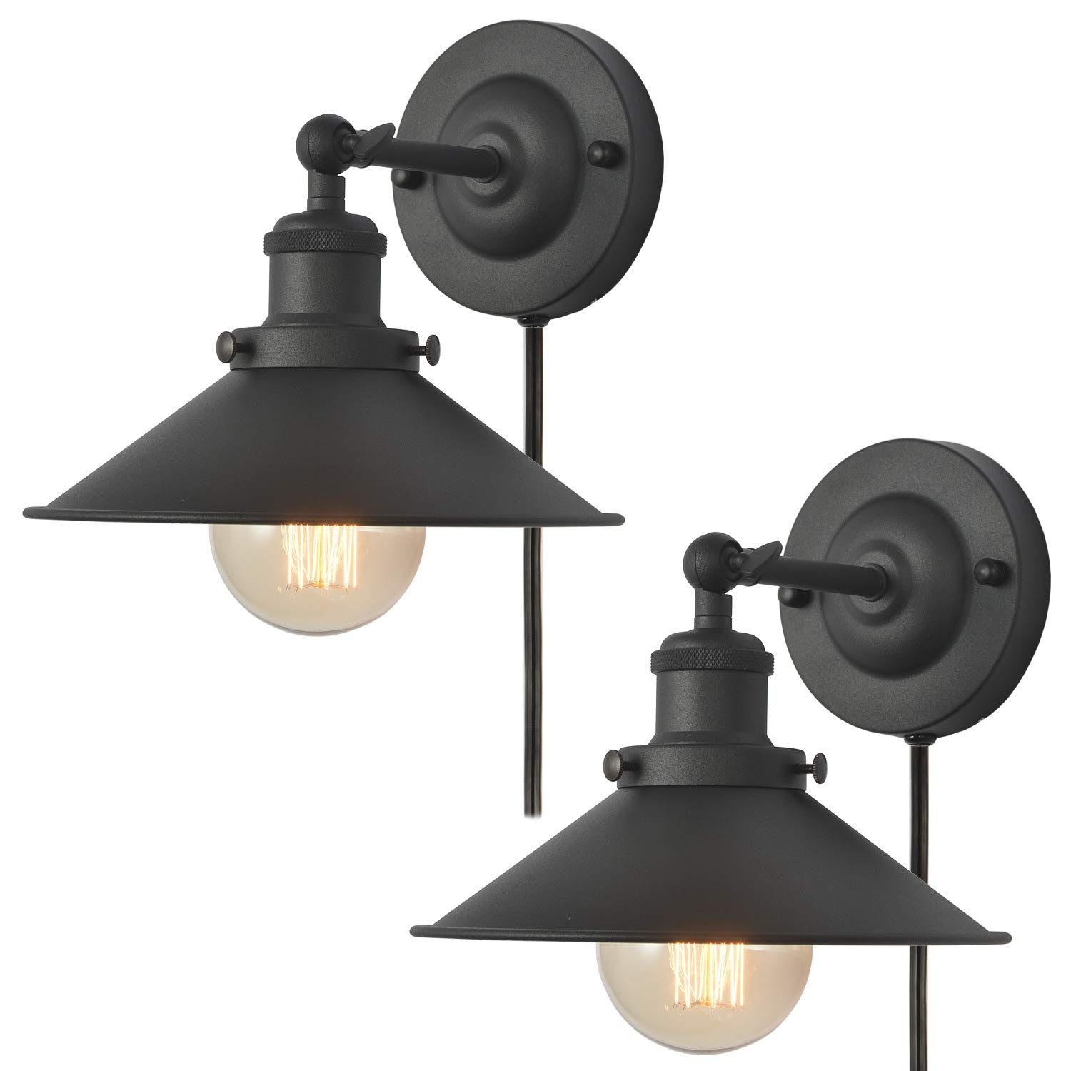 Plug-in Wall Sconces Lighting Fixture, AILIN Vintage Industrial Wall Light with Black Aged Steel Finished Metal Shade, 2-Pack