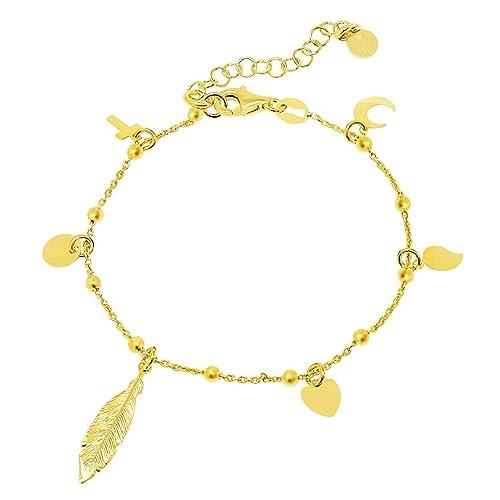 836bdcc9b582 WANDA PLATA Pulsera con Pluma Cruz Corazón Luna para Mujer Plata de Ley 925  con Baño de Oro  Amazon.es  Joyería