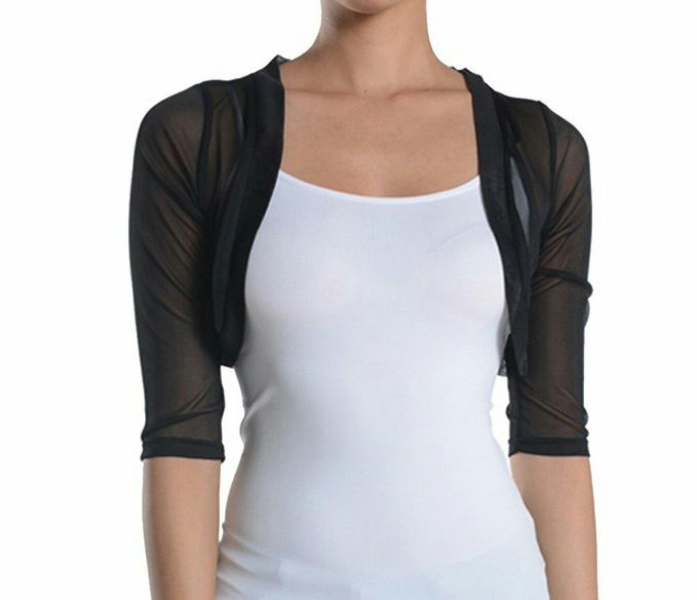 Fashion Secrets Junior`s Sheer Chiffon Bolero Shrug Cardigan 3/4 Sleeve (Large, Black)