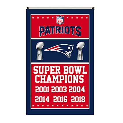 fa4261b6 2Love New England Patriots 6-Time Super Bowl Champions Flag Banner 3x5 Feet  Man Cave