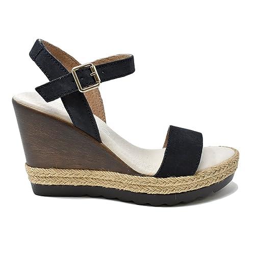 746d04681 Sandalia Cuña En Serraje Azul Marino  Amazon.es  Zapatos y complementos