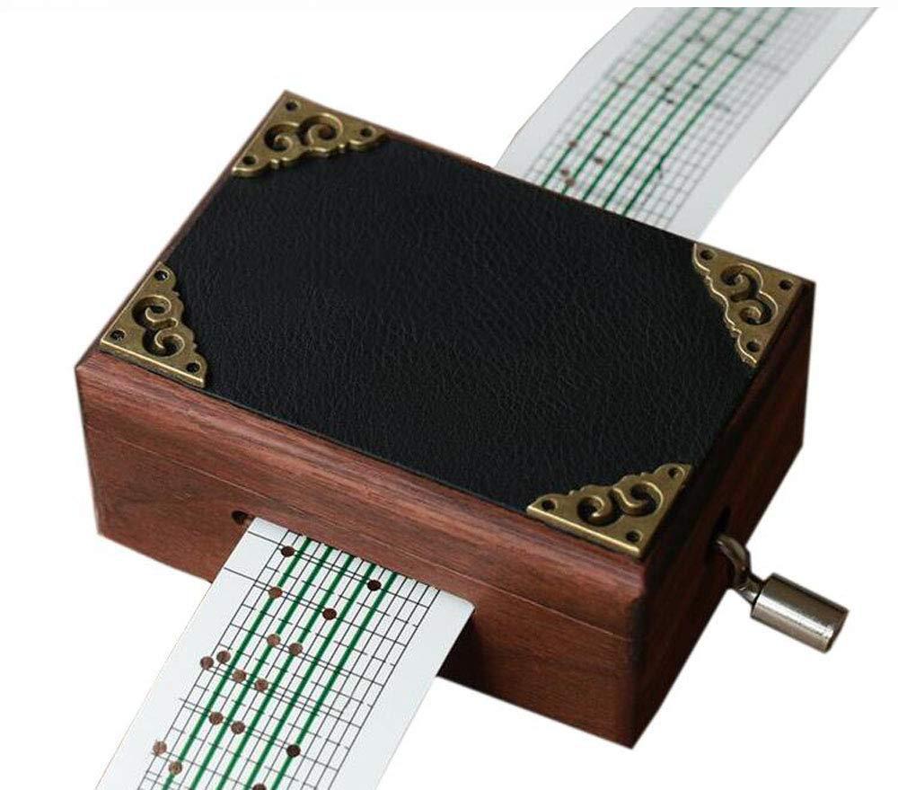 Cuzit antico vintage in legno specchio Music Box 15/note Movement manovella carillon DIY make Yr own Song include a punch 20/fogli bianchi e 16/Music Paper Best gift