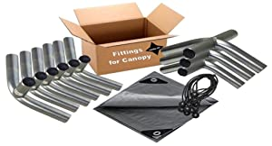 """12'x20' Heavy Duty 1-3/8"""" Carport Canopy Kit Silver Tarp. Foot Pads, Poles for Legs & Roof Not Included"""