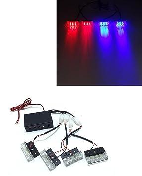 4 x 3 LED parrilla de coche intermitente luz estroboscópica ...