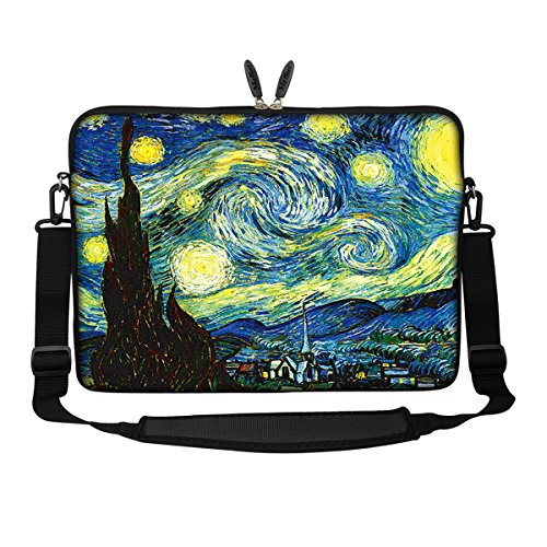 Meffort Inc 15 15.6 Inch Neoprene Laptop Sleeve Bag Carrying Case with Hidden Handle and Adjustable Shoulder Strap - The Starring Night