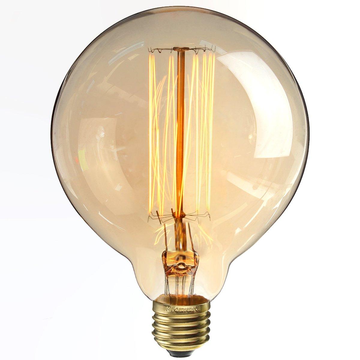 KINGSO Ampoules à Incandescence Lampe Edison 40W 220V G125 Globe Rétro Ampoule Vintage Antique