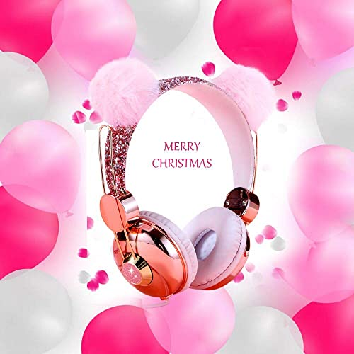 Kids Headphones, Wired Over Ear 85dB Volume Limiting Headphone for Kids Girls Children Teens School, Pink Plush Bear Ear Sparkly Headband Anime Headphones with MIC for Cell Phones Tablets MP3 4