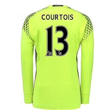 a4d40e21e 2016-17 Chelsea Home Goalkeeper Football Soccer T-Shirt (Thibaut Courtois  13)