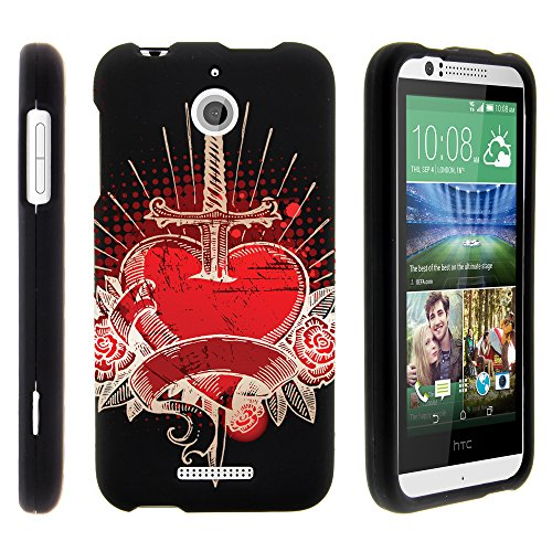 MINITURTLE, 3 in 1 Slim Fit Graphic Design Image 2 Piece Snap On Hard Phone Case Cover, Stylus Pen, and Clear LCD Screen Protector for Prepaid Android Smartphone HTC Desire 510 /Sprint /Boost Mobile /Virgin Mobile (Pierced Heart)