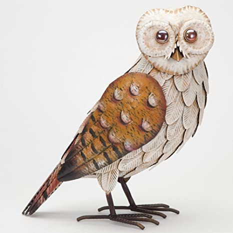 Bits And Pieces   Stately 14 ½u201d Metal Owl Sculpture   Exquisitely Crafted  Hand Painted