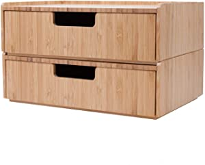 Bamboo Drawer 2 Pack Combo Set Stackable Storage Solution for office supplies, bathroom toiletries products, cosmetics and more