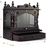 """Aakaar Idols & Temples, Wall Hanging, Handcrafted Wooden Temple/Mandap/Pooja Mandir/Home Temple with Doors - 21"""" VC Without Dome for Home & Office"""