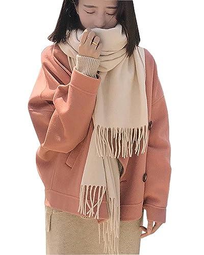 Mujer Abrigo Corto Suelto Chaqueta Trench de Manga Larga Jacket Coat Outwear Pink L