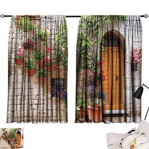 Ediyuneth Beaded Curtain Tuscan,Begonia Blossoms in Box Window Wooden Shutters Brick Wall Romagna Italy,Orange White Green 72