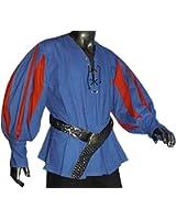 Mittelalter Landsknechthemd blau, Einsätze in rot, Größen XS - XXXL