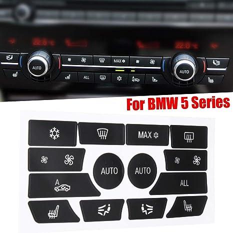 JenNiFer Pulsanti Pannello di Controllo Clima Dash Plastica Nera Riparazione Kit Adesivi per BMW Serie 5