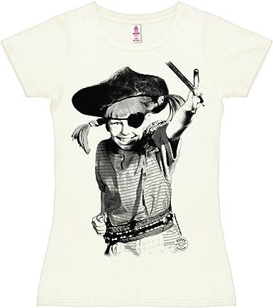 Logoshirt Camiseta para Mujer Pippi Calzaslargas - Pirata - Pippi Långstrump - Pirate - de Color - Blanco Antiguo - Diseño Original con Licencia: Amazon.es: Ropa y accesorios