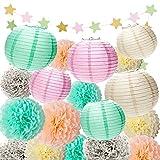 Tissue Pom Poms Paper Lanterns Kit for Baby Shower Birthday Wedding Party 18 Pcs