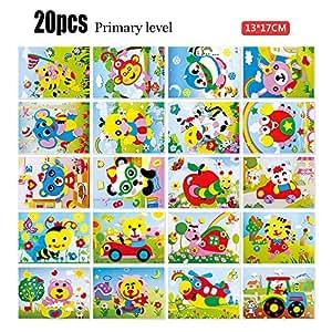 Bunty - Juego de pegatinas de mosaico para niños, 20 hojas, juguete de mosaico