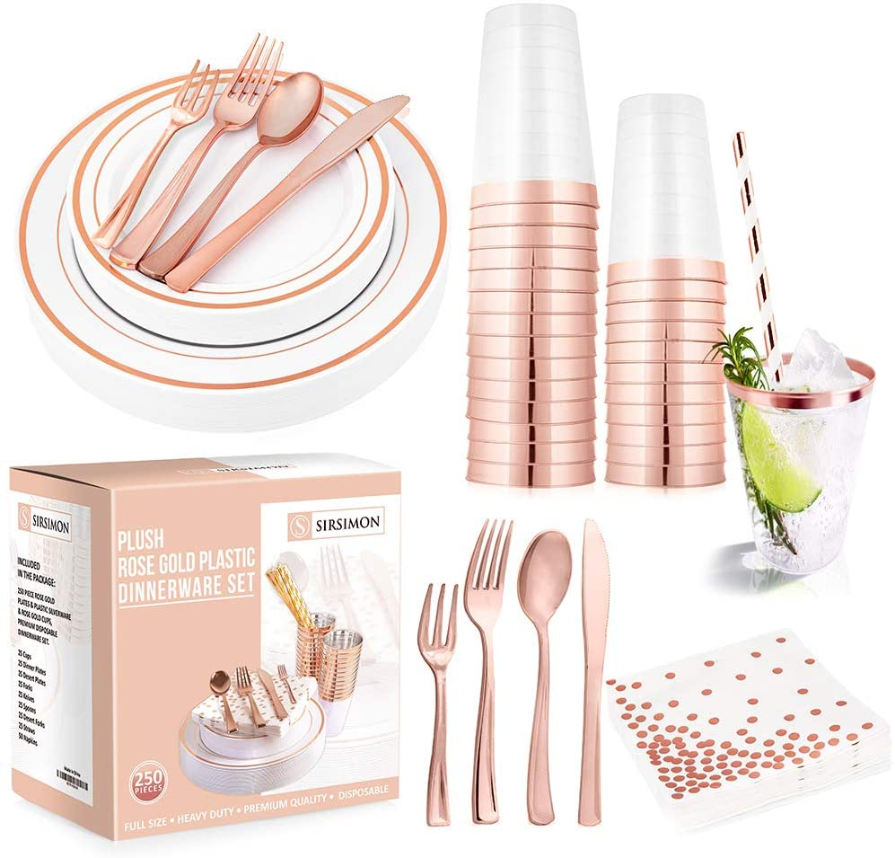 SIRSIMON 250 Piece Disposable Rose Gold Plastic Tableware Set - 50 Rose Gold Plastic Plates - 25 Rose Gold Plastic Silverware - 25 Rose Gold Cups and Straws - 50 Fancy Napkins, Wedding or Party of 25