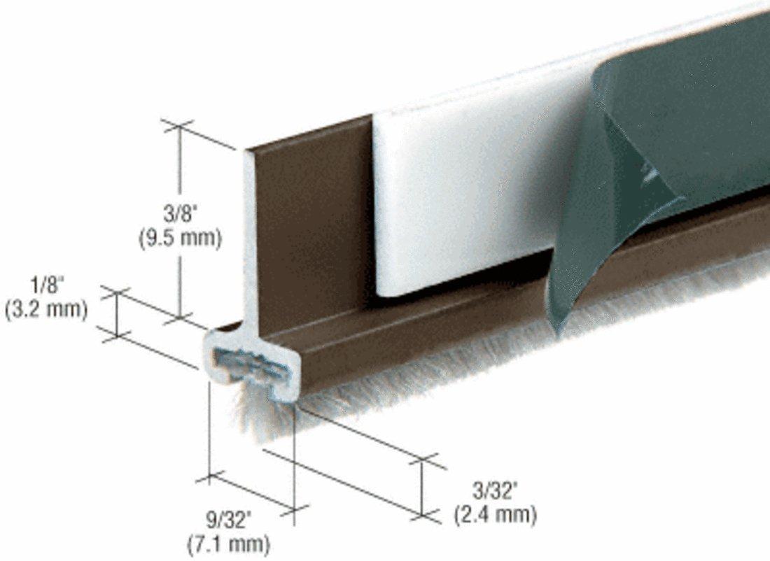 Black Bronze Anodized Pile Weatherstrip for Door Rails - Stock Length