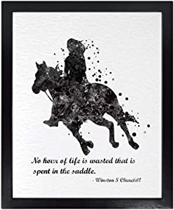 Dignovel Studios 11X14 Unframed Girl Riding Horse No Hour of Life Wasted in Saddle Inspirational Quotes Words Saying Wisdom Watercolor Art Print Poster Wall Art Nursery Kids Office Home Decor DN563