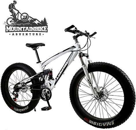 NENGGE 26 & 24 Pulgadas Bicicleta Montaña Doble Suspensión para Adulto Hombre Mujer, Bicicleta BTT con Freno Disco, Marco Acero Alto Carbono MTB Ciclismo,Blanco,24 Inch 7 Speed: Amazon.es: Hogar