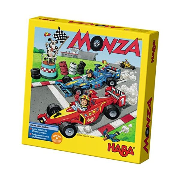HABA Monza – A Car Racing Beginner's Board Game Encourages Thinking Skills – Ages 5 and Up (Made in Germany)