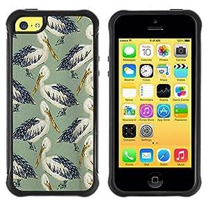 "Pulsar iFace Series Tpu silicona Carcasa Funda Case para Apple iPhone 5C , Pájaro Cigüeña Patrón Naturaleza Pintura"""