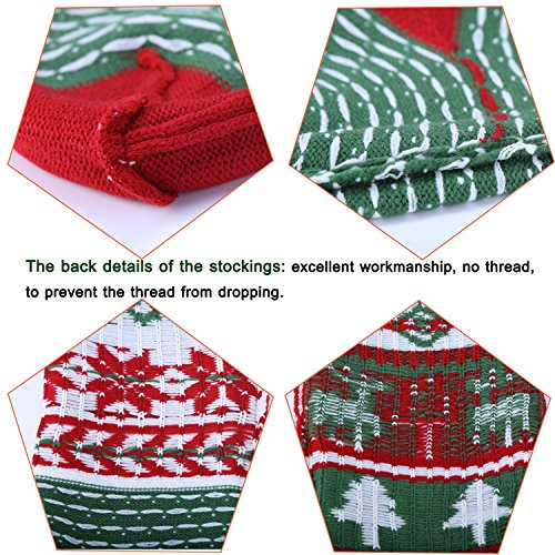 Knit Christmas Stockings for Family 22'' x 7'' Sets of 2 – Red/White/Green Snowflake knitted Hanging Bags - Holiday Gift - Decor,Decorations Christmas Tree,Mantel by Dragon Squama (Image #3)