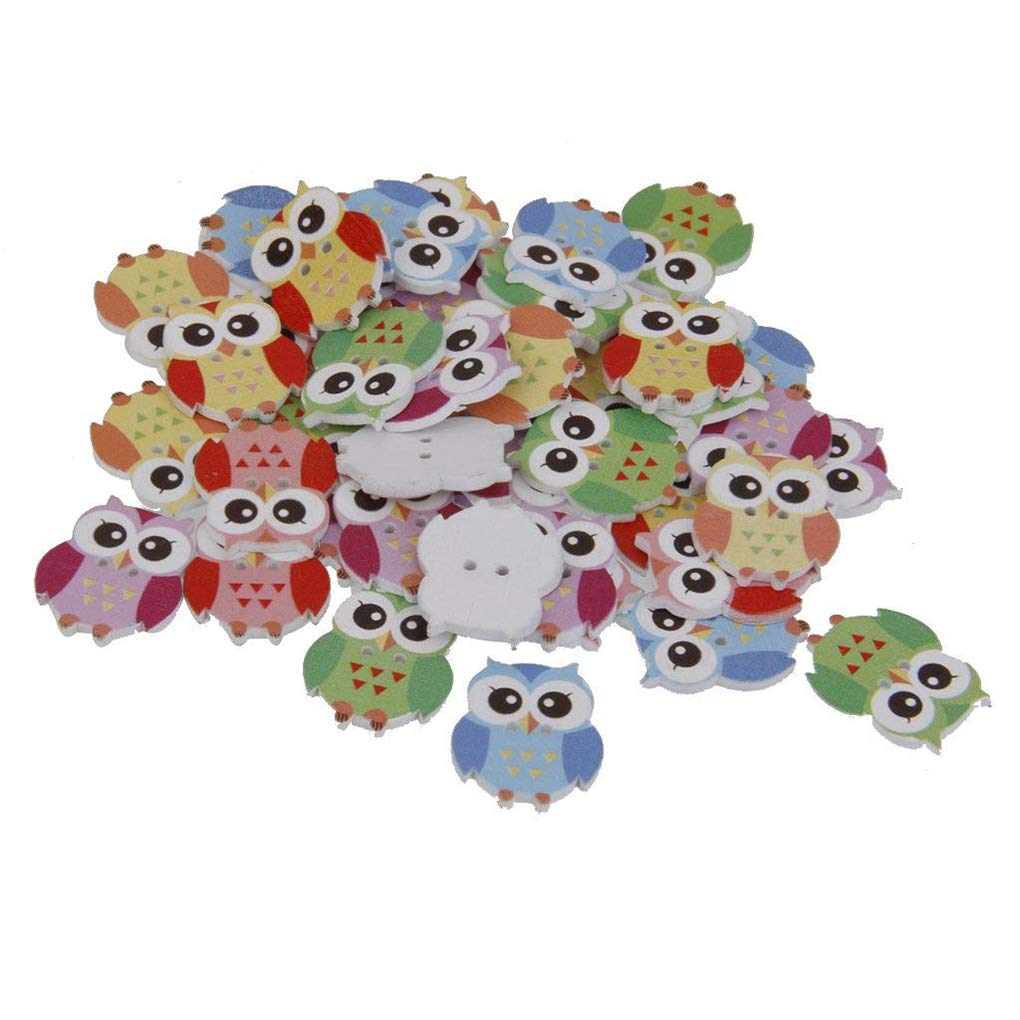 OmkuwlQ Color Random 50pcs Cartoon Wooden Chip Children Kid Clothes Button Decorations Eco-Friendly Ornament by OmkuwlQ (Image #4)