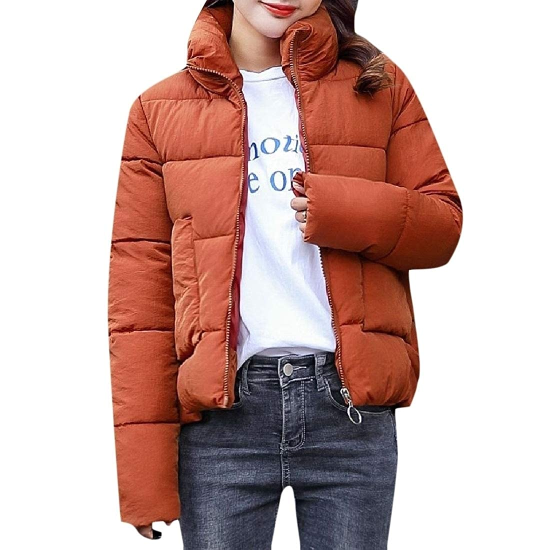 YUNY Women Down Solid Color Stand Collar Outwear Casual Puffer Jacket Caramel L