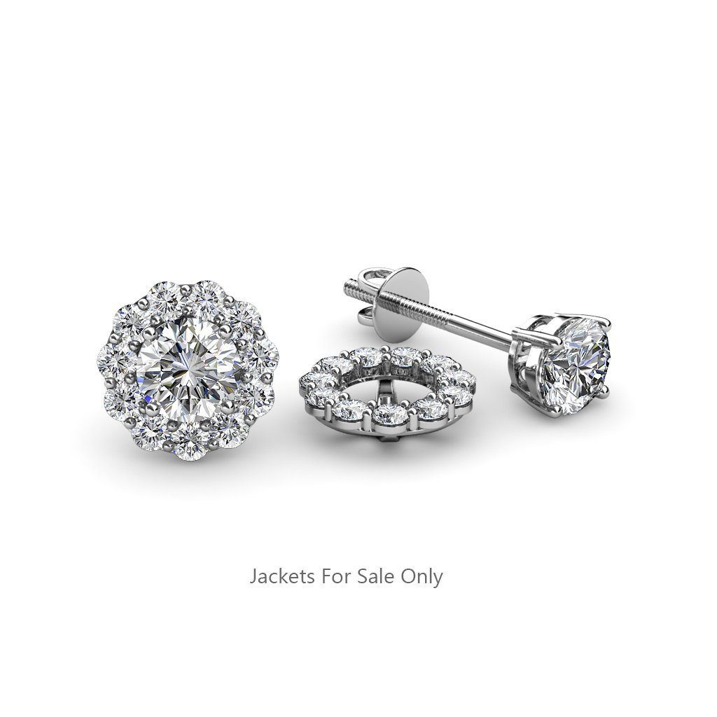 Diamond Halo Jacket for Stud Earrings (SI2-I1, G-H) 0.66 ct tw in 14K White Gold