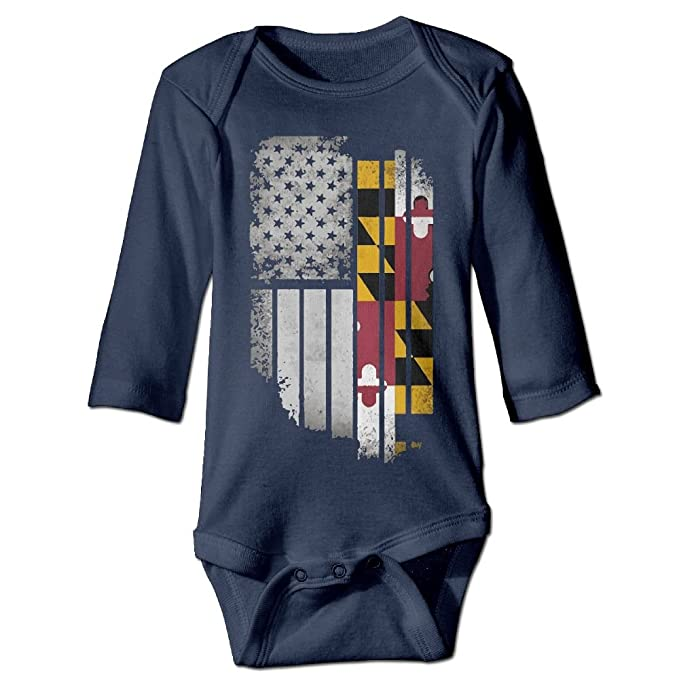 Amazon Com Usa Vintage Maryland Flag Autumn Long Sleeve Infant