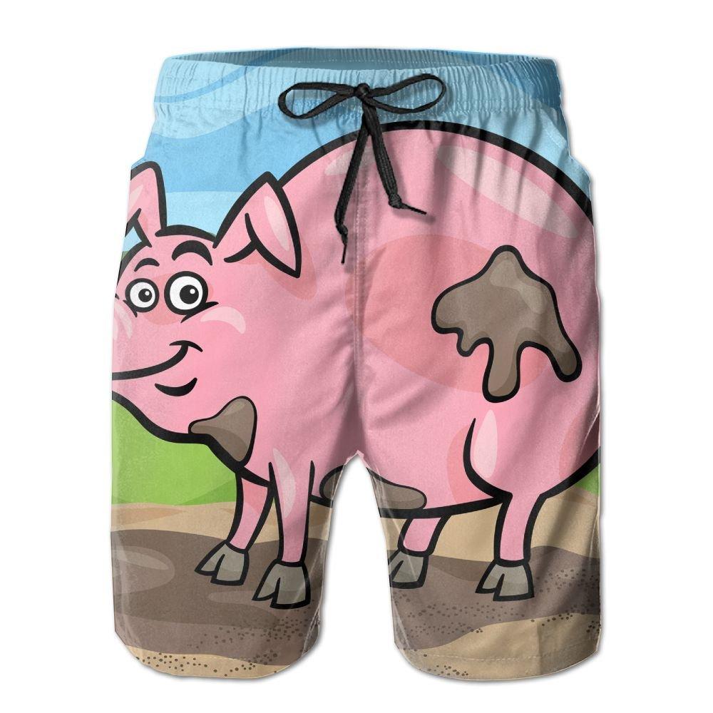 MIPU SHANGMAO Mens Cartoon Kitten Summer Beach Shorts Leisure Quick Dry Swimming Pants