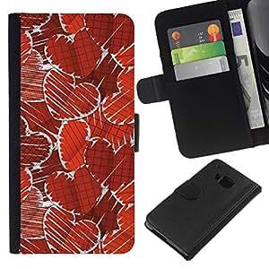 // PHONE CASE GIFT // Moda Estuche Funda de Cuero Billetera Tarjeta de crédito dinero bolsa Cubierta de proteccion Caso HTC One M7 / Paper Heart Pattern /