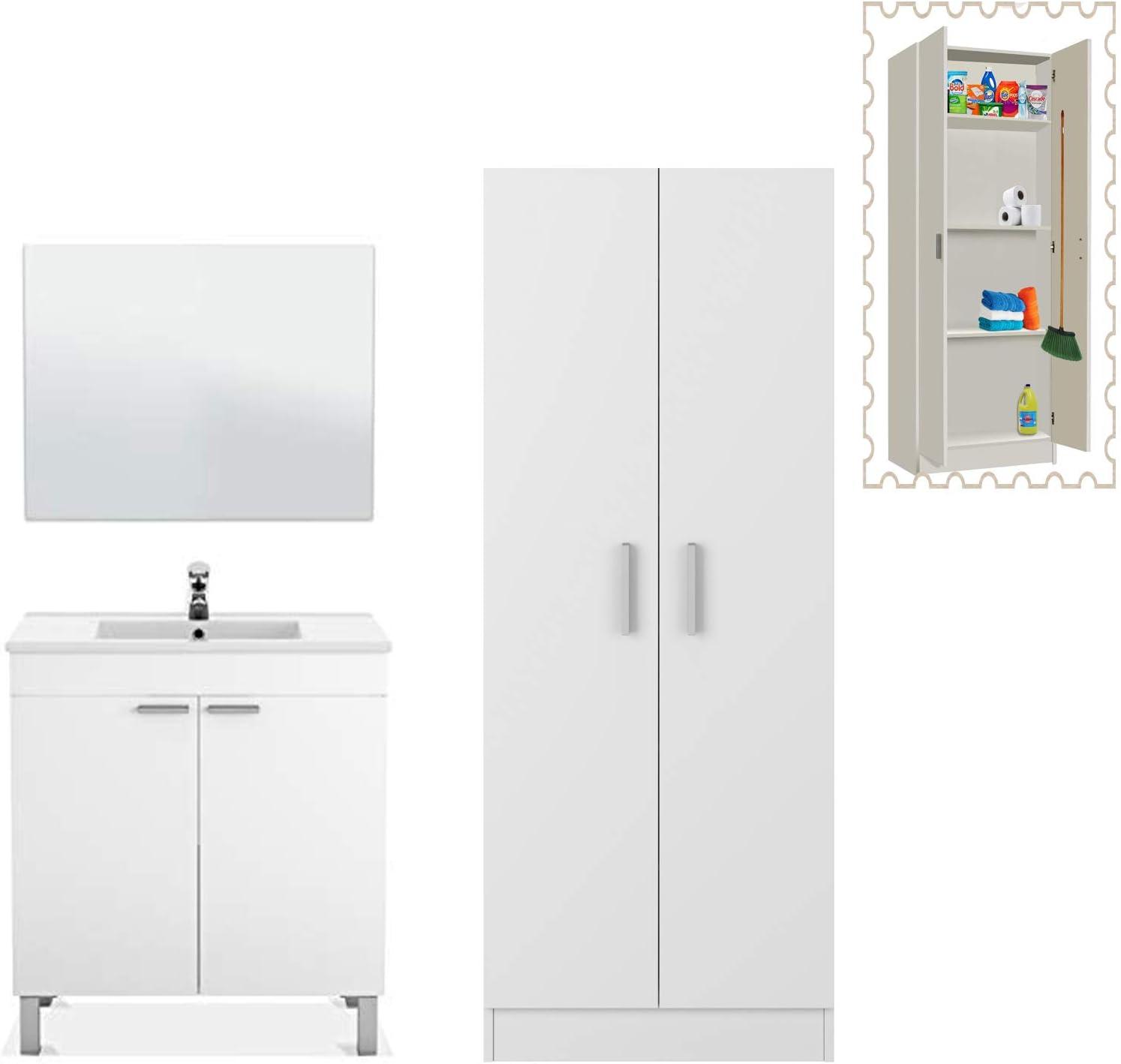 HABITMOBEL Mueble de Baño con Espejo en Blanco Brillo con Armario Alto en Blanco con estantes y escobero: Amazon.es: Hogar