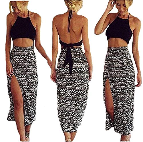 Bamgool Women Bralet Cami Crop Top Two Piece Set Split Skirt Casual Dress, Black, Small