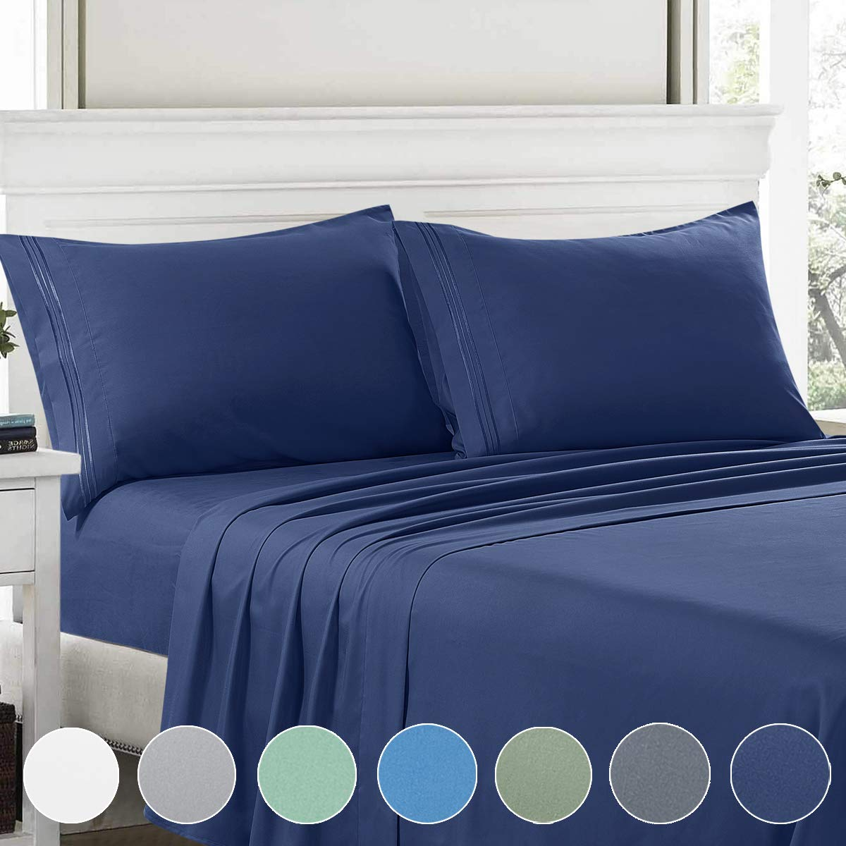 Bed Sheets Set Queen,4 Piece 1800 Series Premium Brushed Microfiber Bed Sheets, 1INCH,Breathable Cooling Comfy Super Soft Bedding With Deep Pocket for Toddler room,Guest room,Hotel,RV(Navy Blue,Queen)