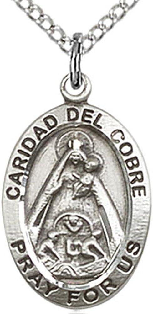 Sterling Silver Caridad del Cobre Medal 0.87 in x 0.75 in