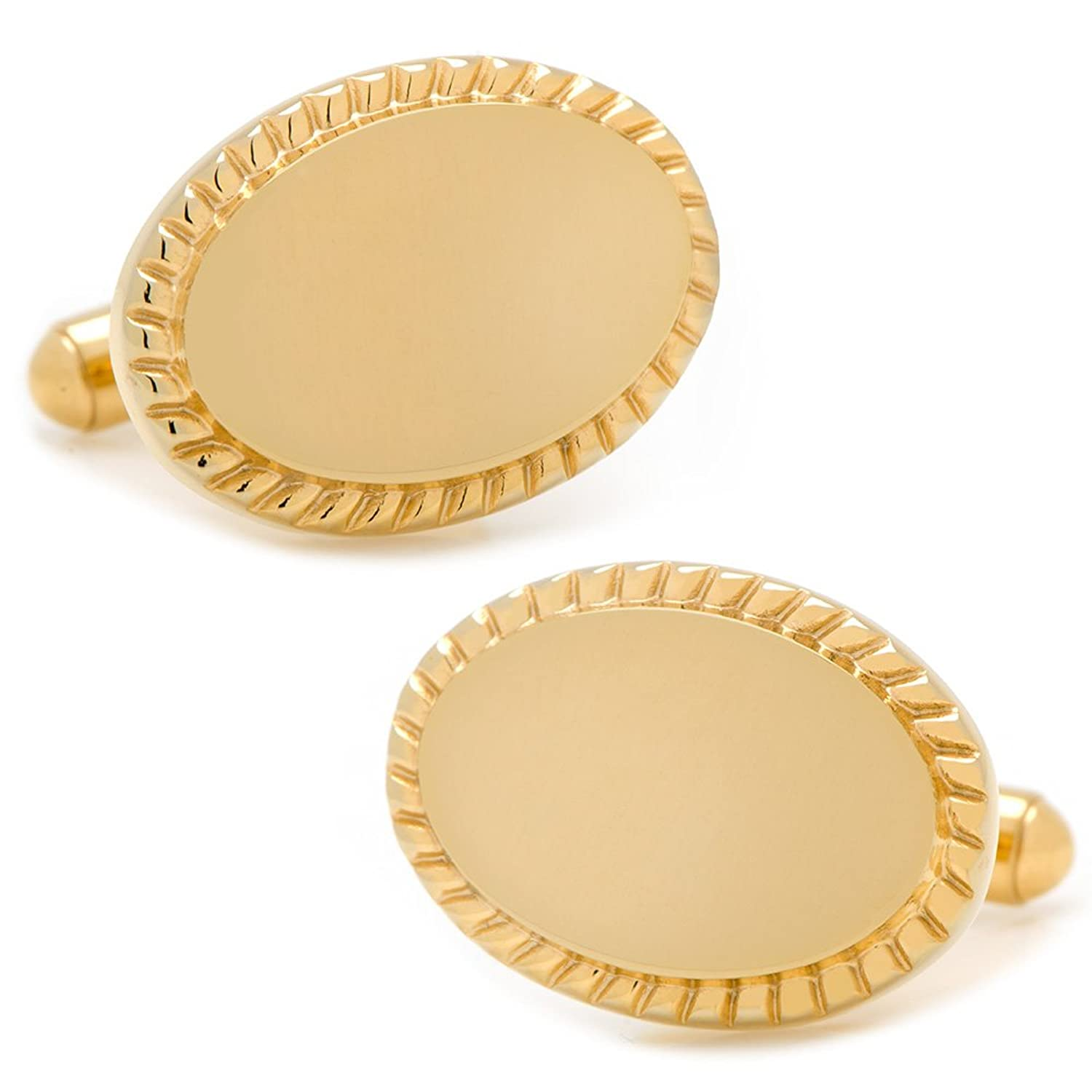 Ox and Bull Trading Co. 14K Gold Plated Rope Border Oval Engravable Cufflinks
