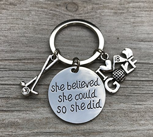 Golf She Believed She Could So She Did Charm Keychain, Golf Jewelry for Women and Girls, Perfect Gift for Female Golf Player or Golf Team by Infinity Collection