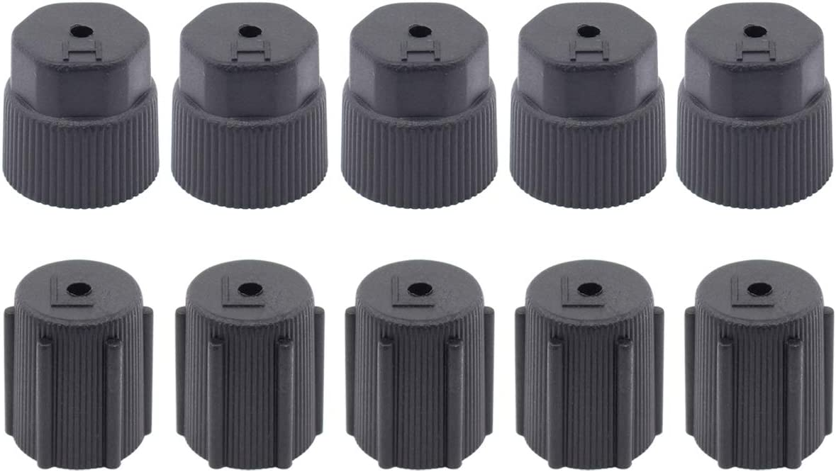 ApplianPar AC R134a Valve Cap Air Conditioning Service System Charging Port Cover Leakproof Hat A//C 13mm Low and 16mm High Pressure Side Pack of 10